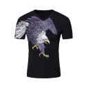 Summer Funny Eagle Print Basic Short Sleeve V-Neck Black T-Shirt For Men