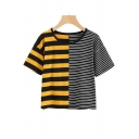 Hot Fashion Black and Yellow Colorblock Striped Casual T-Shirt