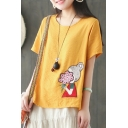 Summer Cartoon Flower Girl Embroidery Round Neck Casual Relaxed T-Shirt