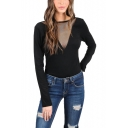 Womens Black Sexy Mesh-Panel Long Sleeve Open Back Slim Fit T-Shirt