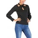 Chic Unique Cutout Twist Collar Long Sleeve Simple Plain Black Tee