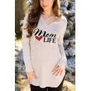 New Fashion Heart Letter MOM LIFE Cross V-Neck Long Sleeve Fitted T-Shirt