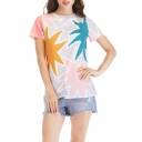 Womens New Stylish Colorblock Round Neck Short Sleeve Casual Relaxed Tee