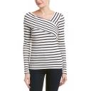 Fashion Unique Oblique V-Neck Long Sleeve Striped Slim Fit T-Shirt for Women