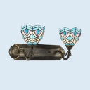 Tiffany Style Antique Bowl Wall Light 2 Lights Stained Glass Sconce Light for Dining Room
