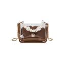 New Fashion Plain Pearl Handle Transparent Crossbody Bag 19.5*9.5*13 CM