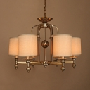 Elegant Style Cylinder Chandelier Metal 6 Lights Gold Suspension Light for Living Room Hotel