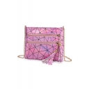 Hot Fashion Geometric Luminous Printed Zipper Tassel Embellishment Crossbody Shoulder Bag 22*18 CM