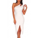 Women's Sexy Cutout One Shoulder Sleeveless Plain Slit Midi Bodycon Jersey Dress