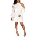 Women's Sexy Cold Shoulder Collared Plain Print Ruffle Long Sleeve White Mini Bodycon Dress