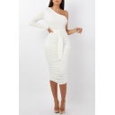 Womens Sexy One Shoulder Long Sleeve Plain Print Bow-Tied Waist White Midi Bodycon Dress