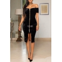 Nightclub Sexy Trendy Off The Shoulder Short Sleeve Plain Print Zip Front Midi Bodycon Dress