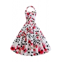 Women's Classic Fashion Polka Dot Floral Printed Halter Sleeveless Midi A-Line Swing White Dress