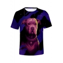 New Trendy Cool 3D Dog Printed Basic Round Neck Short Sleeve Blue T-Shirt