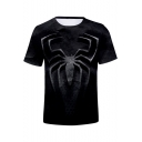 3D Black Spider Far From Home 3D Printed Round Neck Short Sleeve T-Shirt