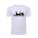 Schrodingers Cat is Dead Funny Letter Printed Basic Round Neck Graphic T-Shirt