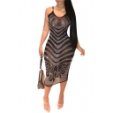 Hot Fashion Mesh Beaded Print V-Neck Sleeveless Black Midi Slip Dress For Women