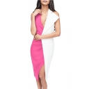 Fashion Halter V Neck Color Block Open Back Slimming Asymmetric Hem Midi Evening Dress