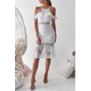 Sexy Hot Style White Plain Print Sleeveless Round Neck Lace Patchwork Midi Bodycon Dress