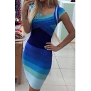 Summer Blue Omber Striped V-Neck Cap Sleeve Mini Bodycon Dress