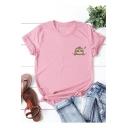 Cute Cartoon Sleeping Sloth Printed Round Neck Short Sleeve Cotton Loose T-Shirt