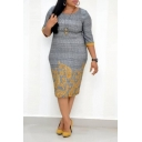 Trendy Gray Plaid Printed Round Neck Half Sleeve Midi Oversized Pencil Dress