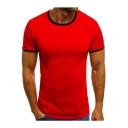 Men's Fashion Contrast Trim Round Neck Short Sleeve Slim T-Shirt