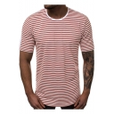 Men's Summer Fashion Striped Printed Round Neck Short Sleeve Relaxed T-Shirt
