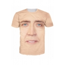 Popular 3D Figure Face Printed Basic Round Neck Short Sleeve T-Shirt