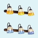 Glass Cone Wall Light 3 Lights Tiffany Style Sconce Light in Blue/Yellow for Foyer Hallway