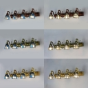 Blue/White Glass Wall Sconce Dining Room Hotel 4 Lights Antique Style Bell Wall Lamp