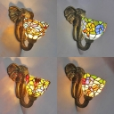 Dome Shade Wall Light with Elephant 1 Light Tiffany Style Rustic Stained Glass Wall Sconce for Hotel