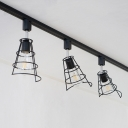 Metal Wire Frame Track Light 3 Lights Industrial LED Ceiling Light in Black/White for Restaurant