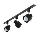 Simple Style Rotatable Track Lighting 3 Lights High Brightness LED Ceiling Mount Light in Black/White
