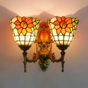 Rustic Style Bell Wall Light with Sunflower 2 Lights Stained Glass Sconce Light for Bedroom