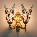 Butterfly Bathroom Sconce Light Stained Glass 2 Lights Tiffany Style Antique Wall Light