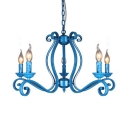 Traditional Blue Suspension Light with Candle 5/8/10 Lights Metal Chandelier for Dining Room