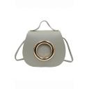 New Stylish Solid Color Metal Ring Embellishment Portable Crossbody Shoulder Bag 18*6*16 CM