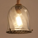 Single Light Hanging Light with Bell Antique Clear Glass Hanging Light for Living Room
