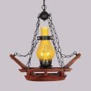 Single Light Gourd Pendant Light Industrial Brown Pendant Lamp for Kitchen Foyer