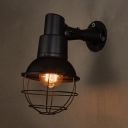 Industrial Globe Wall Light Single Light Metal Sconce Light in Black for Restaurant Bar