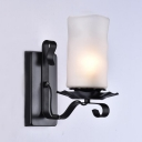 Vintage Pillar Wall Light Single Light Metal and Glass Wall Lamp in White for Hallway
