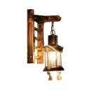 Rust Pillar Sconce Light Single Light Vintage Metal and Glass Wall Sconce for Dining Room