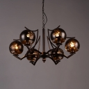 Coffee Shop Globe Chandelier Metal 6 Lights Industrial Pendant Lighting in Bronze