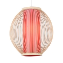 Red Lantern Ceiling Fixture Single Light Antique Bamboo Pendant Lighting for Dining Room Hallway