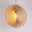 Bamboo Ring Pendant Light Fixture Single Bulb Vintage Style Pendant Lamp in Beige