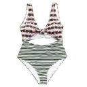 Trendy Striped Printed Knotted Front Cut Out One Piece Swimsuit for Women