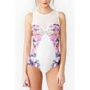 Summer Chic Floral Pattern Zip Back Women's Mesh White One Piece Swimsuit Swimwear