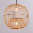 Beige Globe Ceiling Light Single Light Antique Style Rattan Ceiling Fixture in Beige for Dining Room