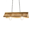 Rustic Style Chandelier Light 2 Lights Bamboo Hanging Light in Beige for Dining Room Foyer